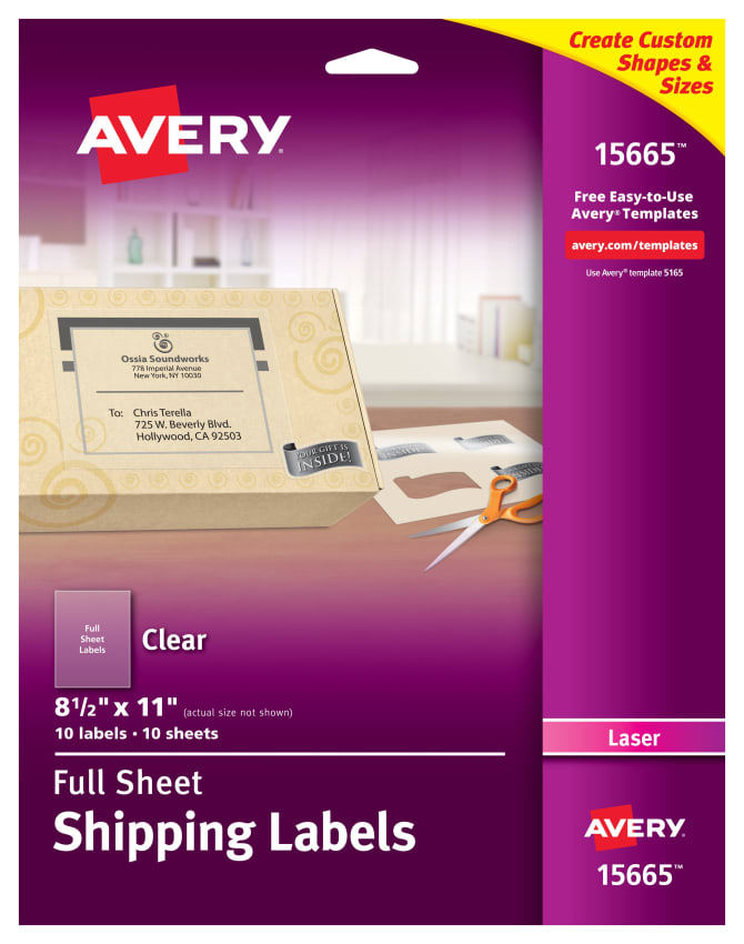 Avery Shipping Labels Clear 10 Labels 15665 Avery