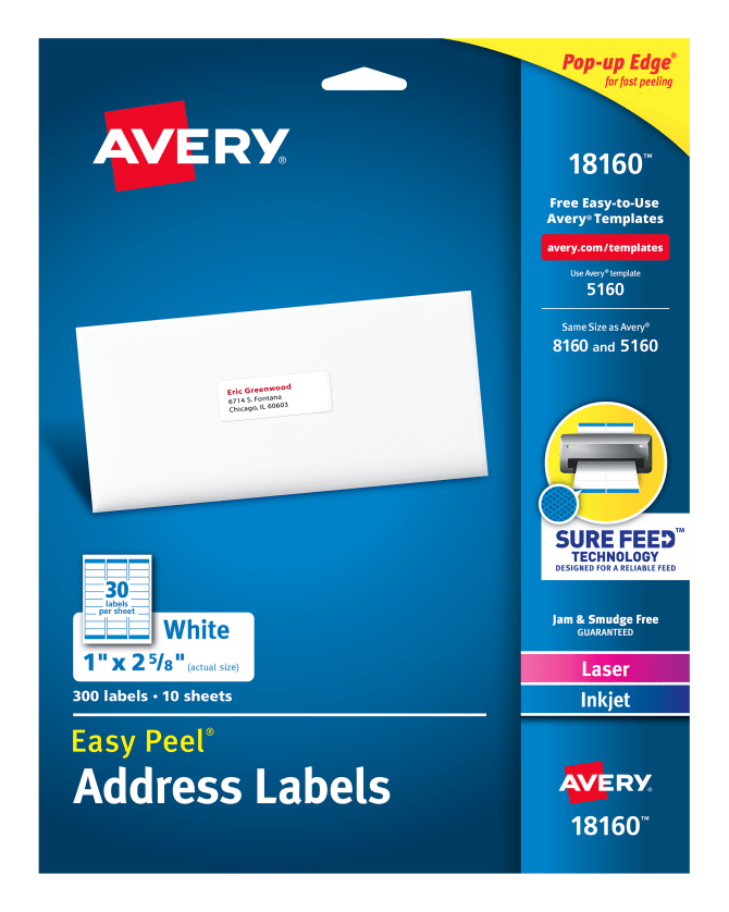avery easy peel address labels 300 labels 18160 averycom