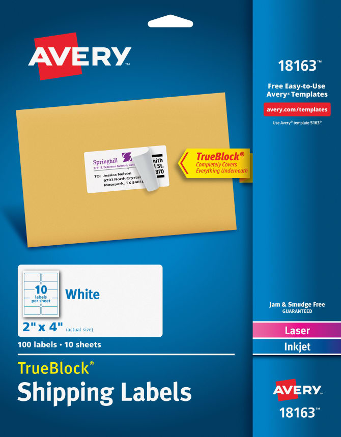 Avery Shipping Labels Permanent Adhesive 100 Labels 18163 Avery