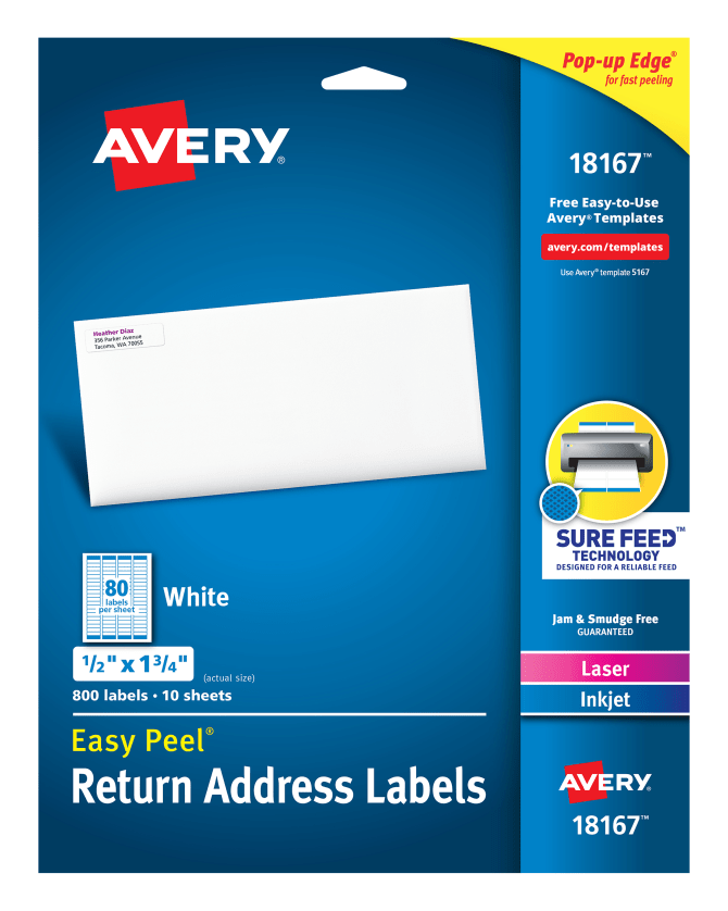 Avery Easy Peel Return Address Labels 12 X 1 34 800 Labels