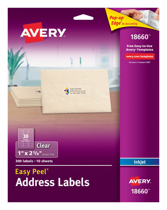 Avery Clear Easy L Address Labels For Inkjet Printers 18660 300
