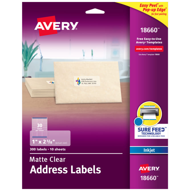 image relating to Printable Labels Sheets identify Avery® Matte Obvious Deal with Labels, Guaranteed Feed™ Technological know-how, Inkjet, 1\