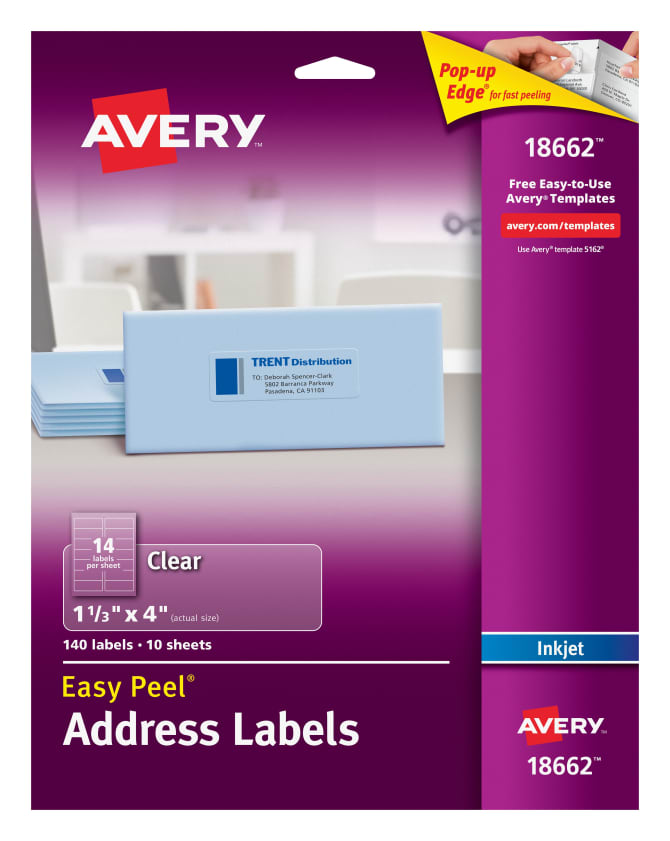 Avery Easy Peel Address Labels Clear 140 Labels 18662 Avery
