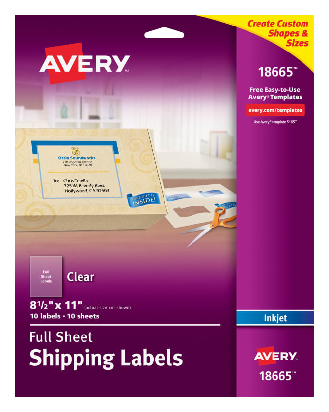 Avery Shipping Labels Clear 10 Labels 18665 Avery