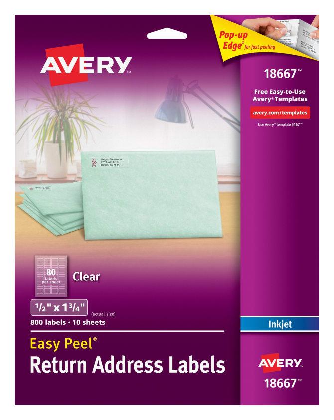 avery easy peel return address labels clear 800 labels 18667