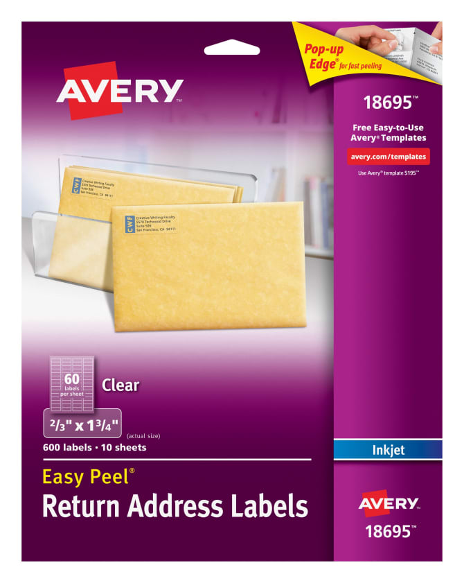 Avery Easy Peel Return Address Labels Clear 600 Labels 18695