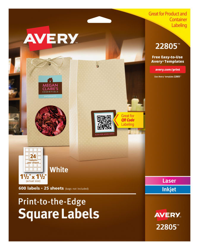 Avery Easy Peel Square Labels Print To The Edge 600 Labels 22805