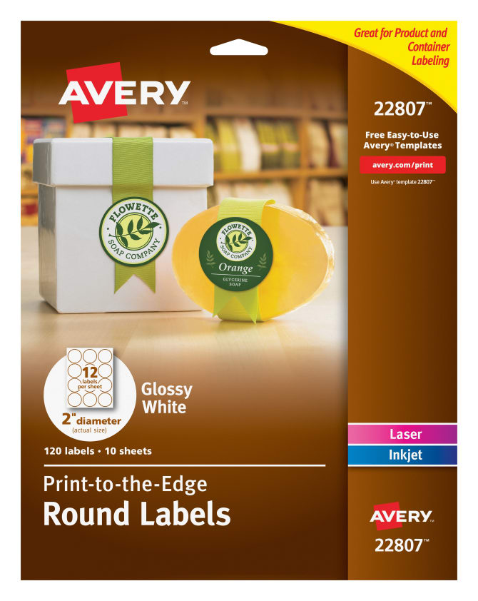 Avery Easy Peel Round Labels Print To The Edge Glossy 120 Labels
