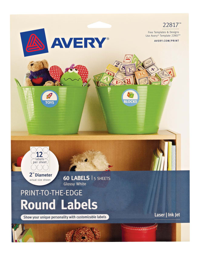 Avery® Round Labels, Permanent Adhesive, Print to the Edge, Glossy White,  2