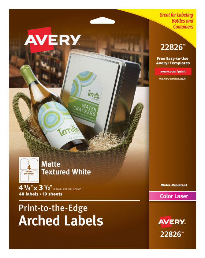 avery water resistant arched labels textured matte 40 labels 22826
