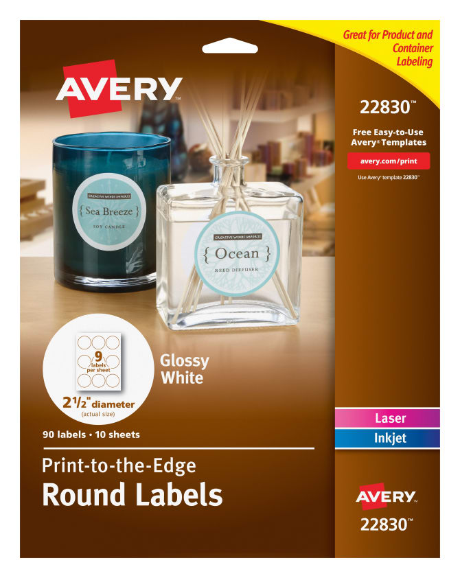 Avery Round Labels Glossy 90 Labels 22830 Avery