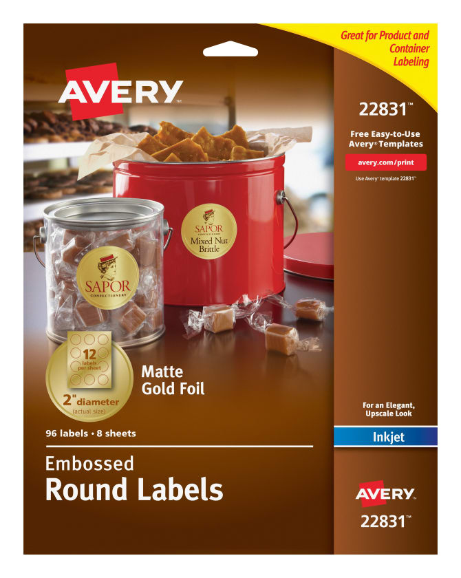 Avery Easy Peel Embossed Foil Labels Permanent Adhesive Matte Gold Round 2 96 Labels 22831