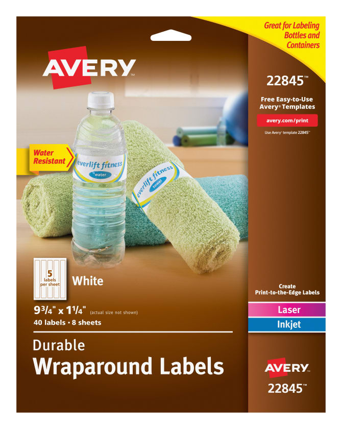Avery® Water-Resistant Wraparound Labels, Permanent Adhesive, 9-3/4