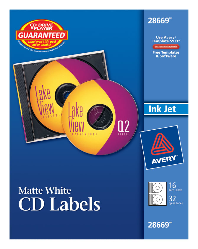 Avery Cd Labels Matte 16 Disc Labels32 Spine Labels 28669