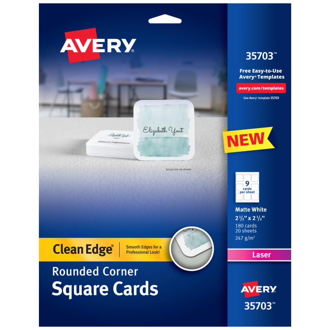 Avery® Square Cards With Rounded Edges 180 Cards, Laser (35702
