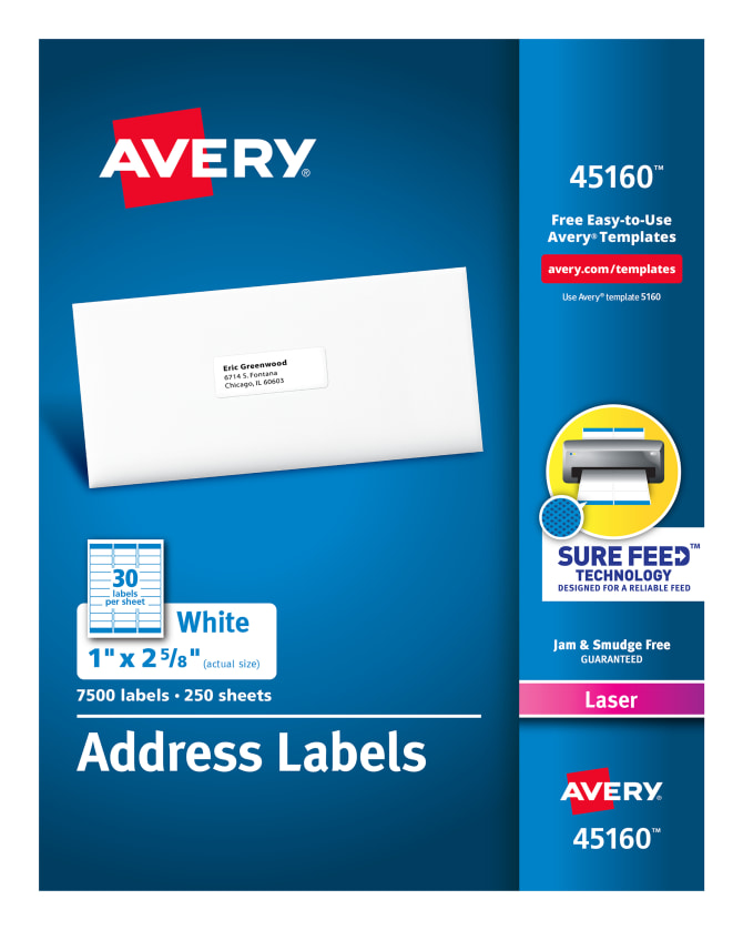 Avery Address Labels Sure Feed Technology Permanent Adhesive 1 X 2 5 8 7 500 Labels 45160