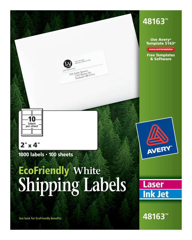 Avery Ecofriendly Shipping Labels 2 X 4 1000 Labels 48163