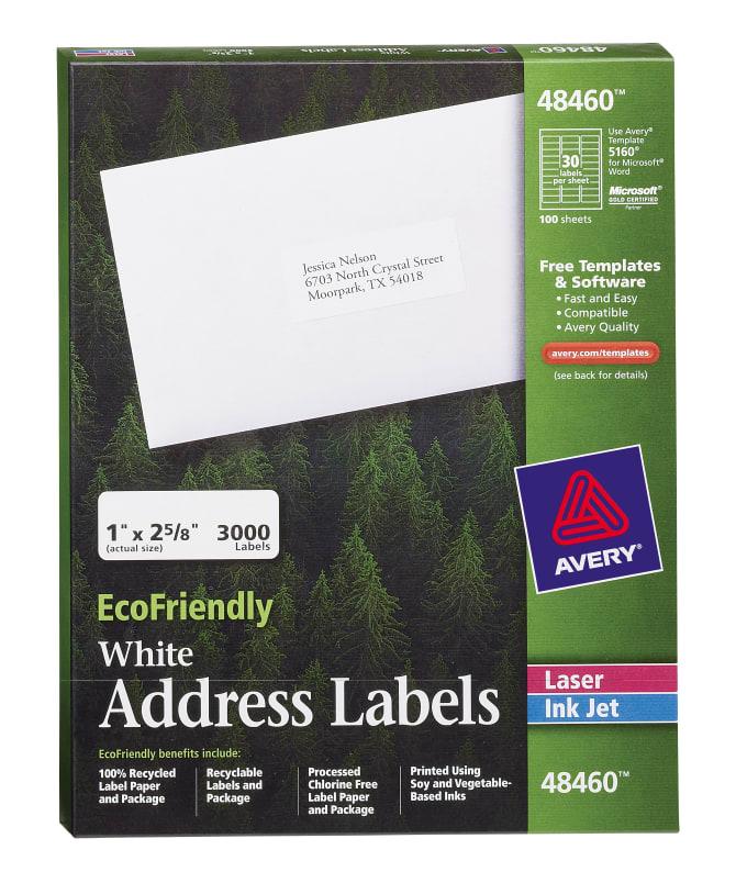 Avery Ecofriendly Address Labels 1 X 2 58000 Labels 48460