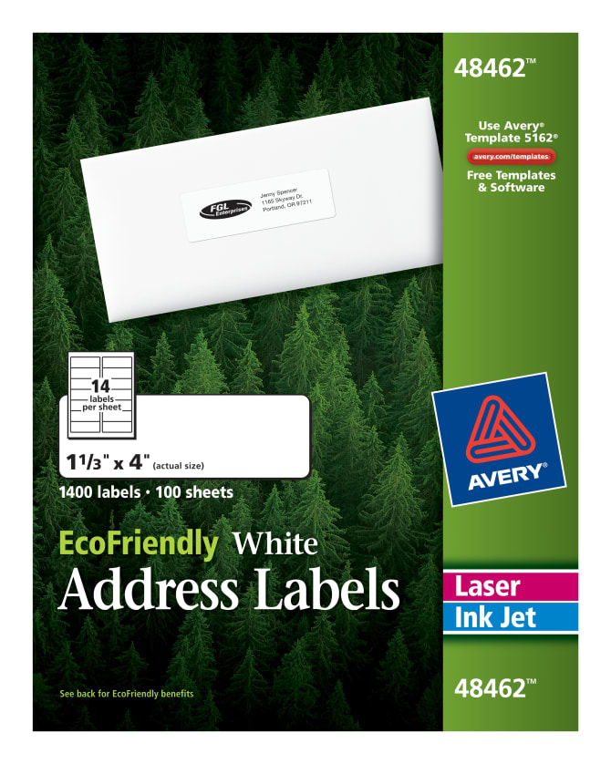 Avery Ecofriendly Address Labels 1 13 X 41400 Labels 48462
