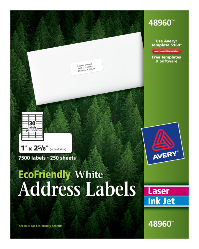 Avery Ecofriendly Address Labels 1 X 2 58500 Labels 48960