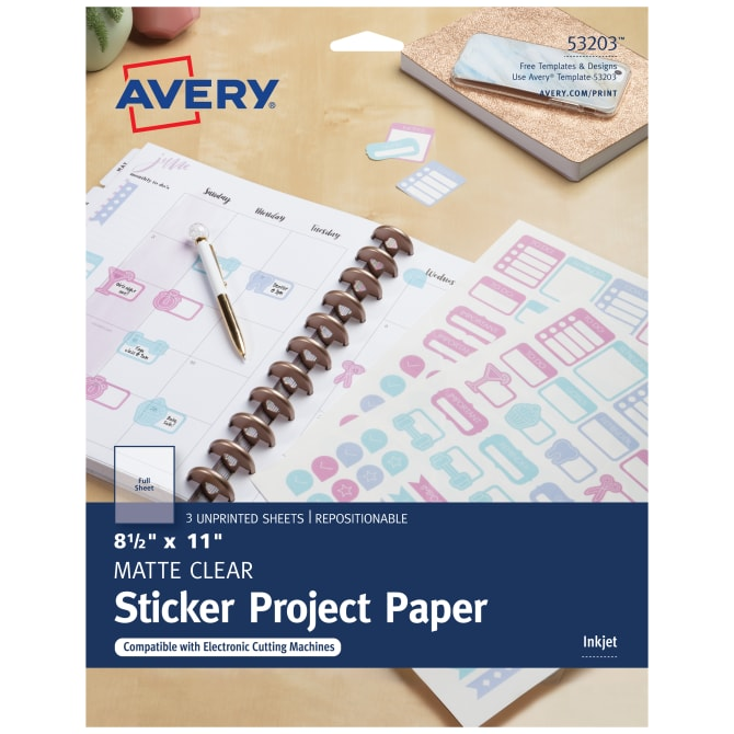 image relating to Sticker Printable Paper referred to as Avery® Sticker Task Paper, Repositionable Adhesive, Matte Apparent, 8-1/2\
