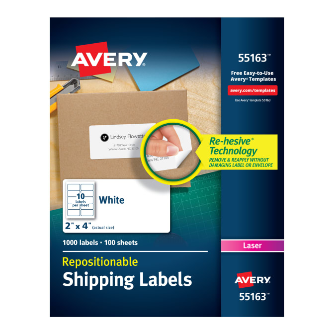 Avery Repositionable Shipping Labels 2 X 4000 Labels 55163