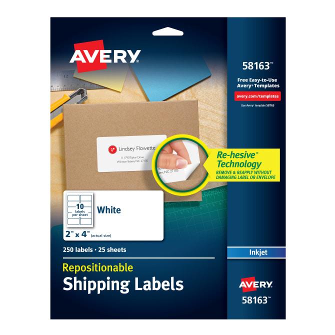 Avery Repositionable Shipping Labels 2 X 4 250 Labels 58163