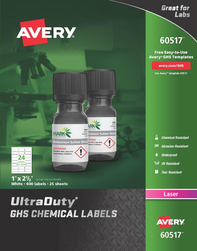 Waterproof UV Resistant Avery UltraDuty GHS Chemical Labels for Laser Printers