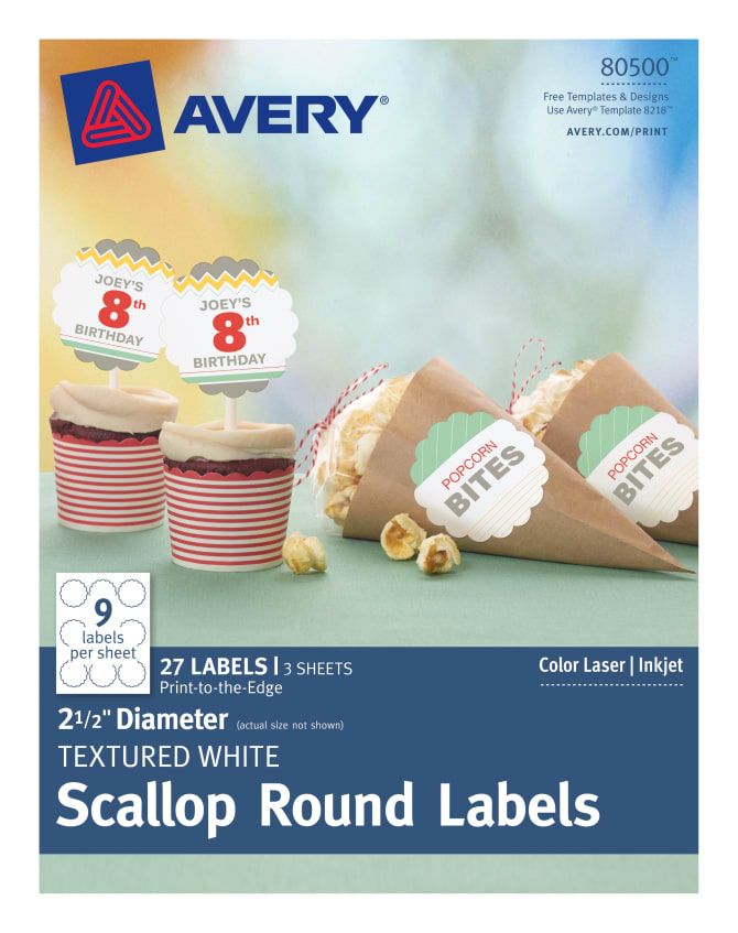 avery scallop labels textured 27 labels 80500 avery com