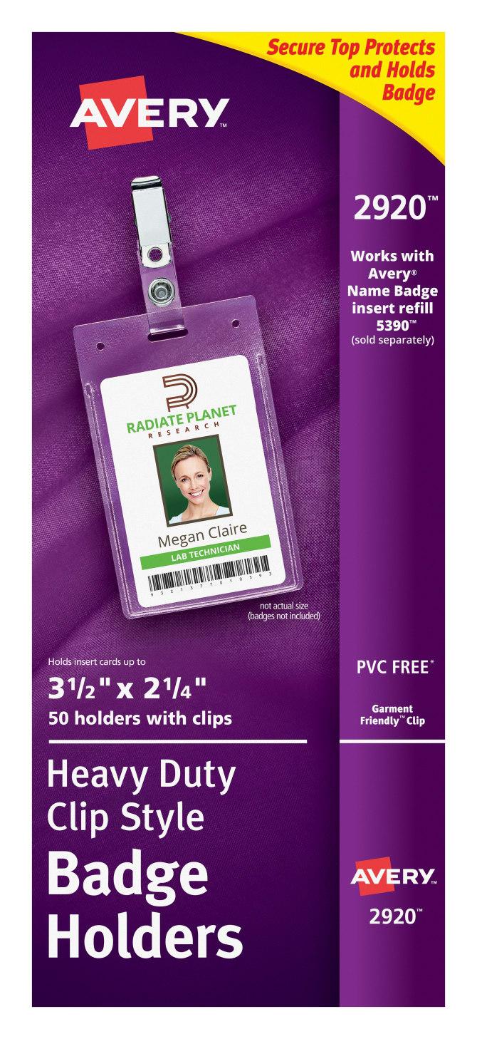 avery heavy duty clip style badge holders 3 1 2 x 2 1 4 50