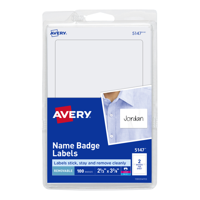 Avery Name Badge Labels 100 Badges 5147 Avery