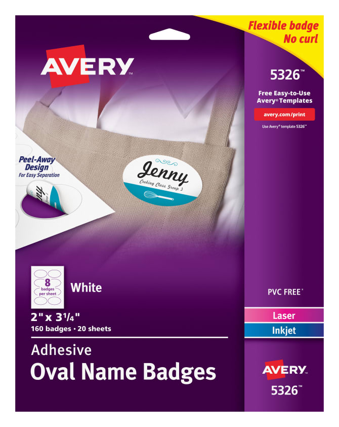 Avery® Adhesive Oval Name Badges, 2