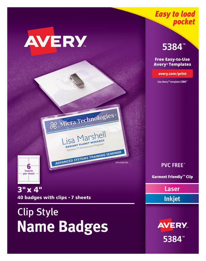 avery top loading garment friendly clip style name badges 40 badges