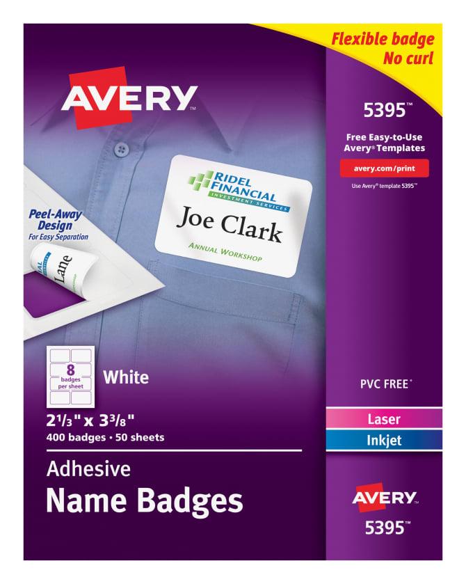 Avery Adhesive Name Badges 400 Badges 5395 Avery