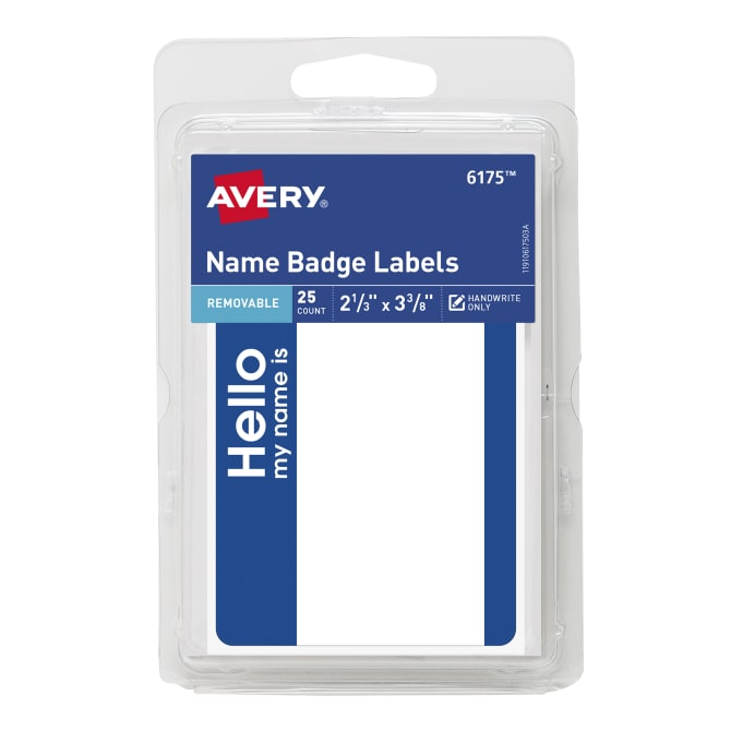 Avery® Self-Adhesive Name Badge Labels, Blue Border, Handwrite Only,  2-3/16