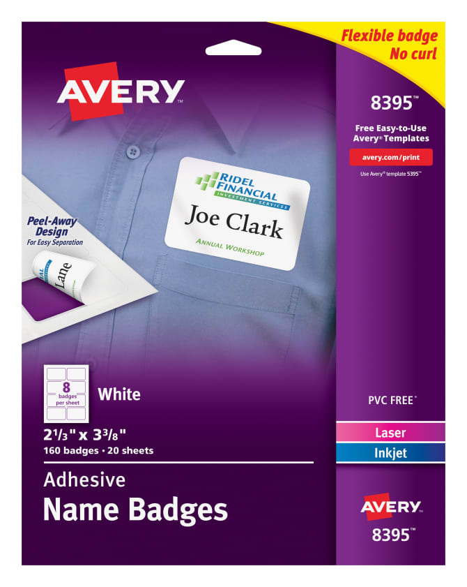 Avery Adhesive Name Badges 160 Badges 8395 Avery