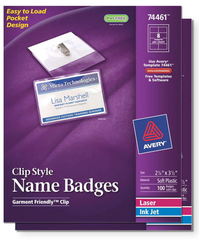 Avery 44461 Clip Name Badges Print Or Write 200 Inserts Badge Holders With Clips