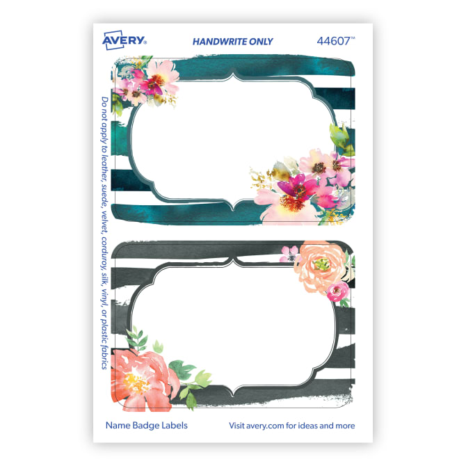 Avery® Adhesive Name Tags, Floral Watercolor Print, 2-1/3