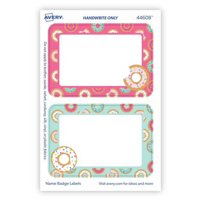 Avery® Adhesive Name Tags, Donuts, Pink & Blue, 2-1/3