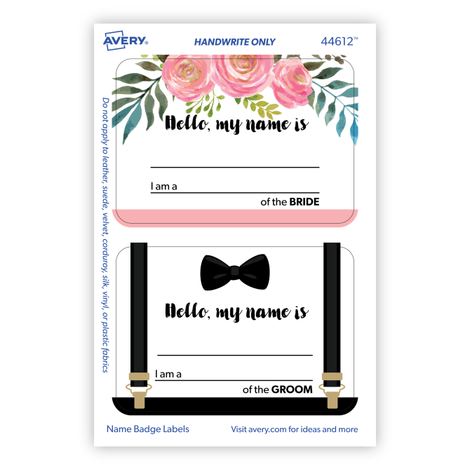 Avery® Adhesive Name Tags, Wedding Guest, Bride & Groom, 2-1/3