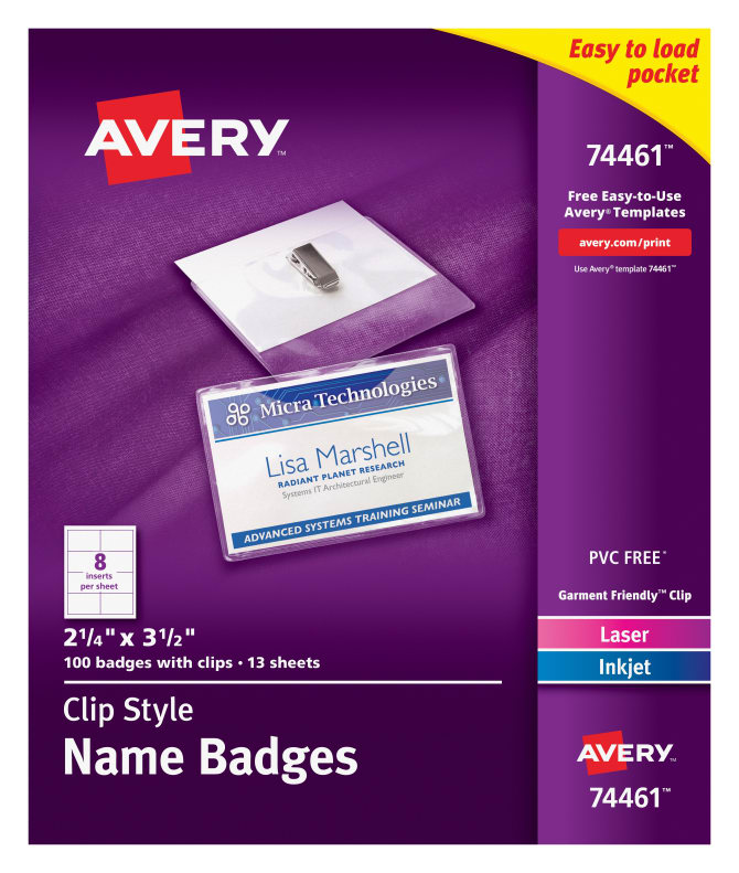 Avery Top Loading Clip Style Name Badges 100 Badges 74461 Avery