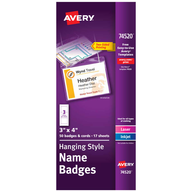 avery top loading hanging name badges 50 badges 74520 avery com