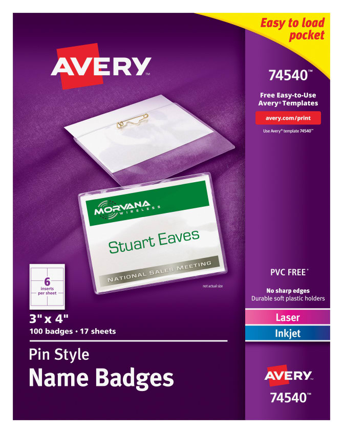 Avery Top Loading Pin Style Name Badges 100 Badges 74540 Avery