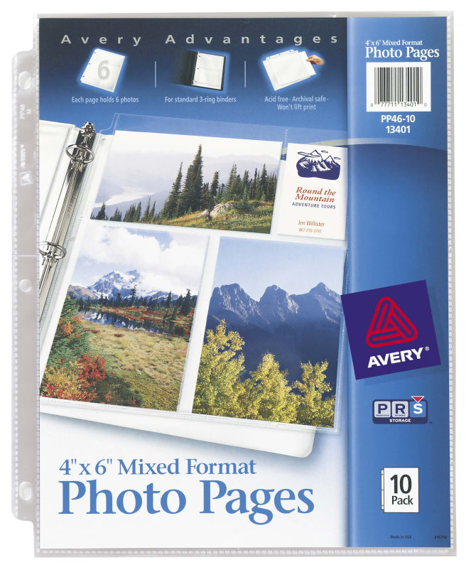 avery photo pages 4 x 6 acid free 10 pages 13401 avery com