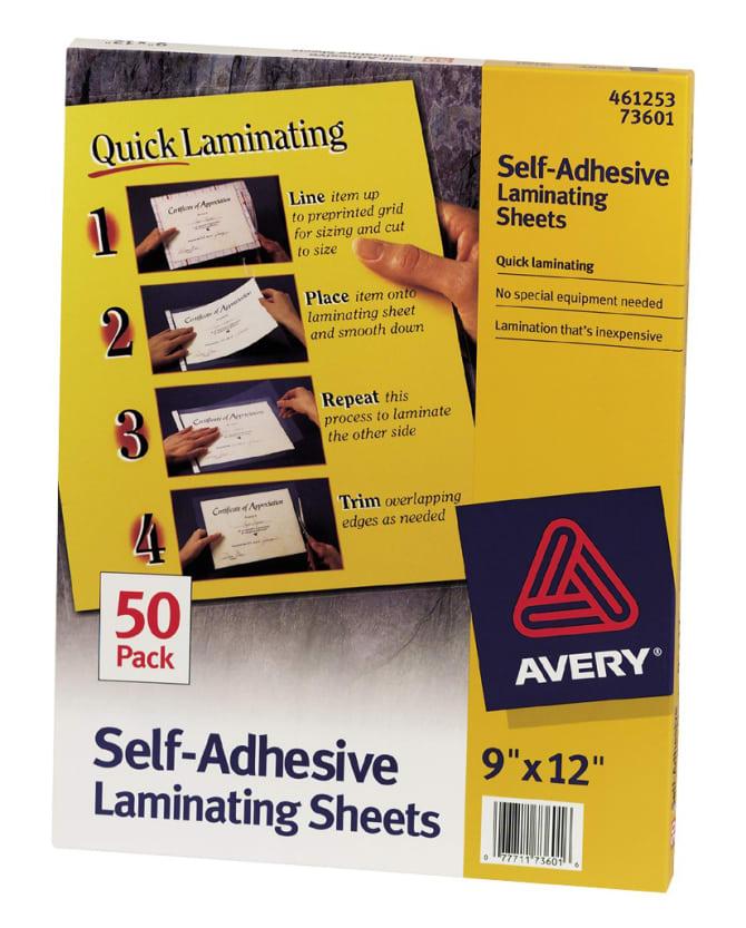Avery Self-Adhesive Laminating Sheets 50 Sheets (73601) | Avery.com