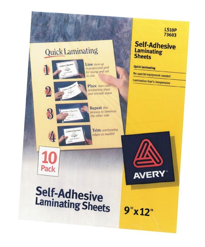 Avery Self-Adhesive Laminating Sheets 10 Sheets (73603) | Avery.com