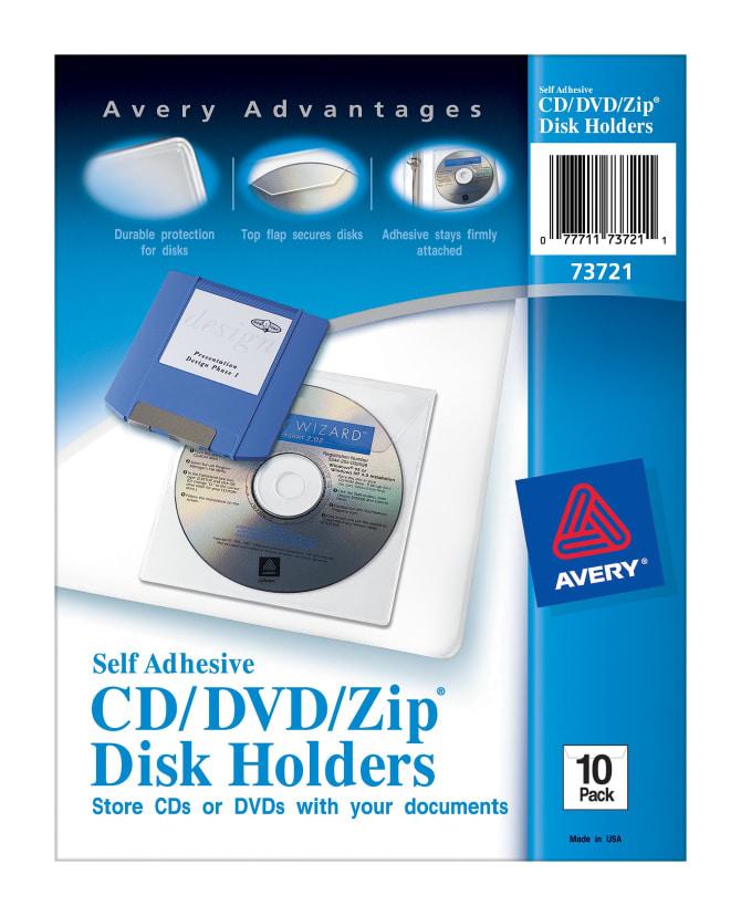 Avery Self-Adhesive CD/DVD/Zip® Pockets, 10 Pockets (73721 ...