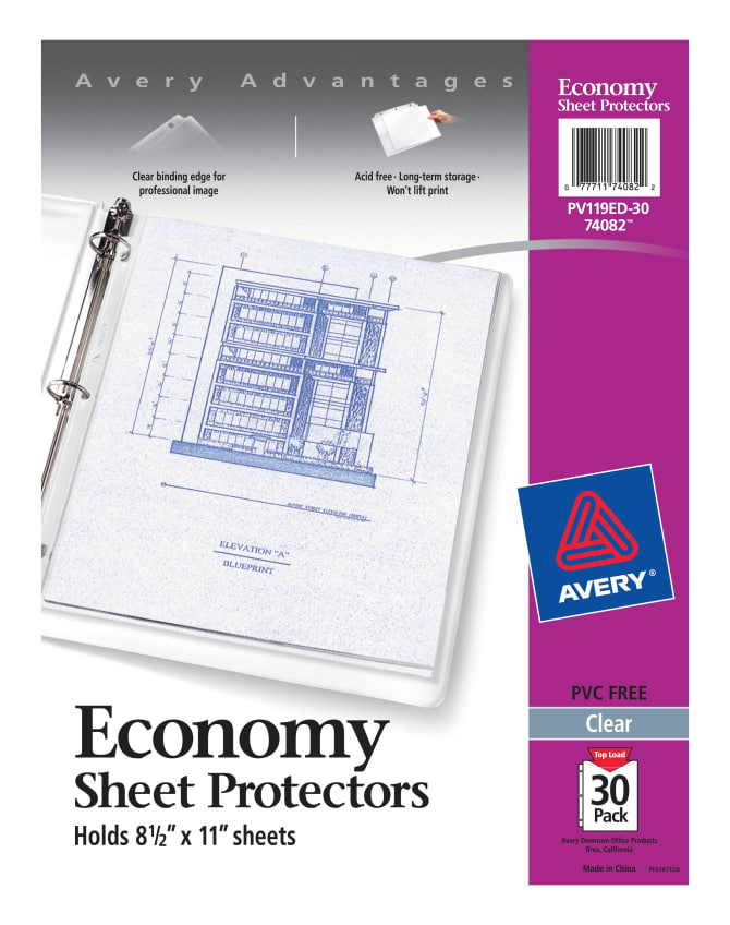 Avery economy clear sheet protectors 30 protectors 74082 avery malvernweather Gallery