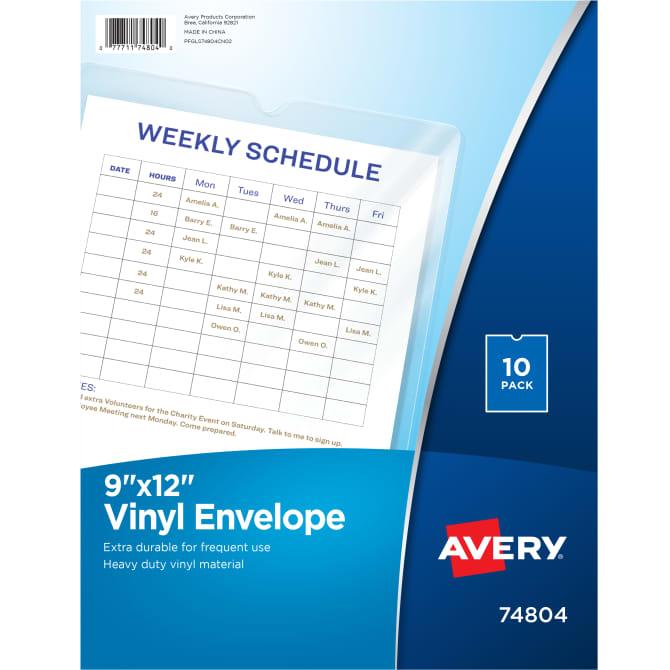 photo regarding Avery Printable Vinyl identified as Avery® Vinyl Envelopes, 9\