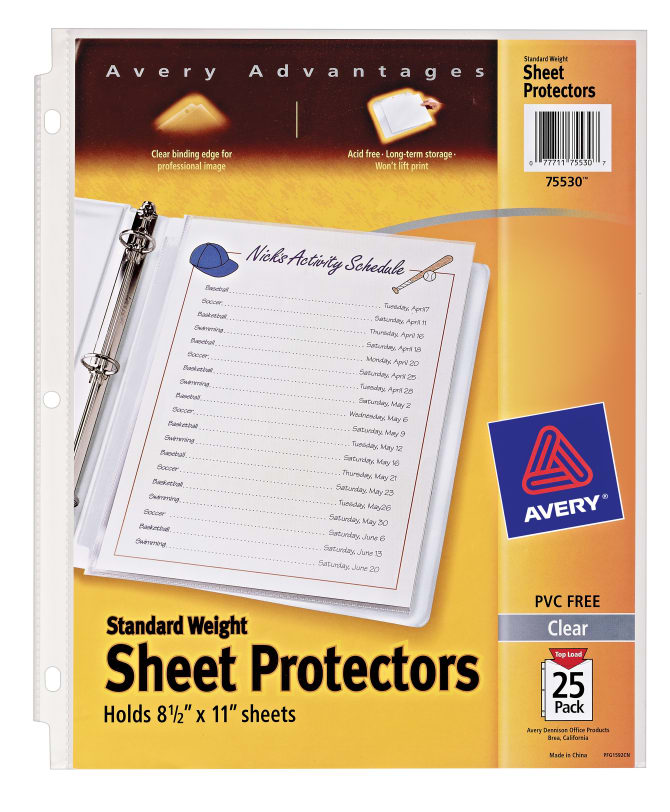 avery standard weight sheet protectors 25 protectors 75530